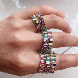 Rainbow Baguette Rose Gold Thin Stacker Ring